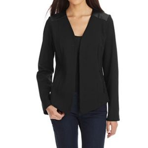 [Eileen Fisher] Leather Trim Angled Front Blazer